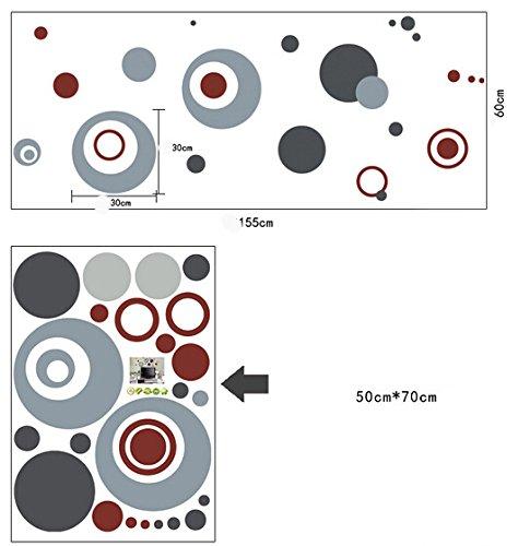 Cadeau Grenouille 3D autocollant pour voiture /Él/égant Sticker mural rond Cercles Gris Maison en papier peint amovible Salon Chambre Cuisine Art Images murales d/écoration de porte de fen/être en PVC