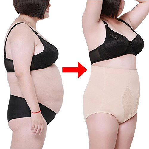 Yuccer Tummy Control Shapewear, Plus Size Shapewear for Women High Waist Cotton Slim Control Panties (Beige, 2XL)