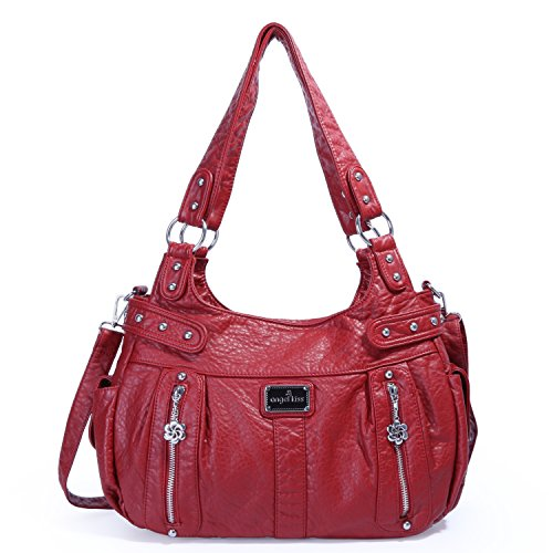 bf764e92a7 Angelkiss 2 Top Zippers Large Capacity Handbags Washed Leather Purses  Shoulder Bags AK19244/2 (