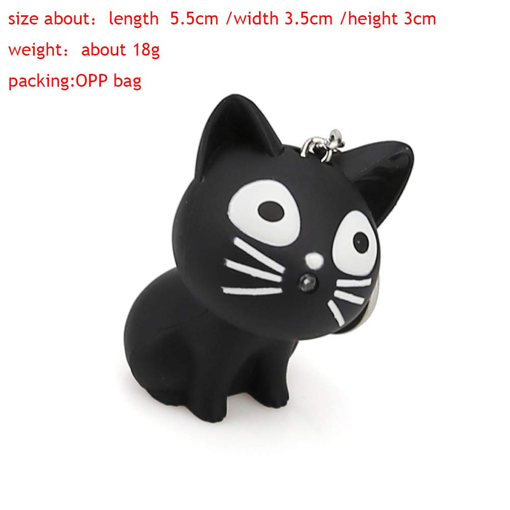 Aobiny Keychain, Cute Cat Keychain with LED Light and Sound Keyfob Kids Toy Gift (Black) by Aobiny (Image #6)