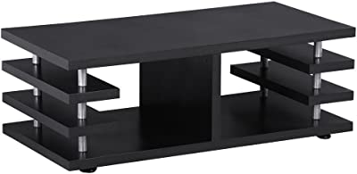 Modern Rectangular Coffee Sofa Table/Storage Shelf Living Room Black