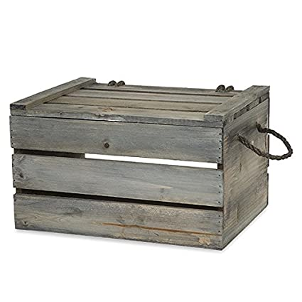 Wooden Crate Storage Box with Lid - Antique Green Grey - Medium  sc 1 st  Amazon.com & Amazon.com: Wooden Crate Storage Box with Lid - Antique Green Grey ...