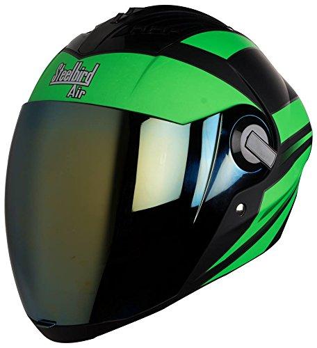 Steelbird Sba 2 Streak Full Face Helmet ( Mat Black) With Extra Visior (Black Ninja Green, 600)