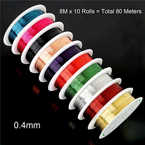 (DalaB Dia. 0.3/0.4 mm 10 Rolls Mix Color Copper Craft Beads Rope Copper Wires Beading Wire for Handmade DIY Arts,Crafts Accessories - (Color: as)