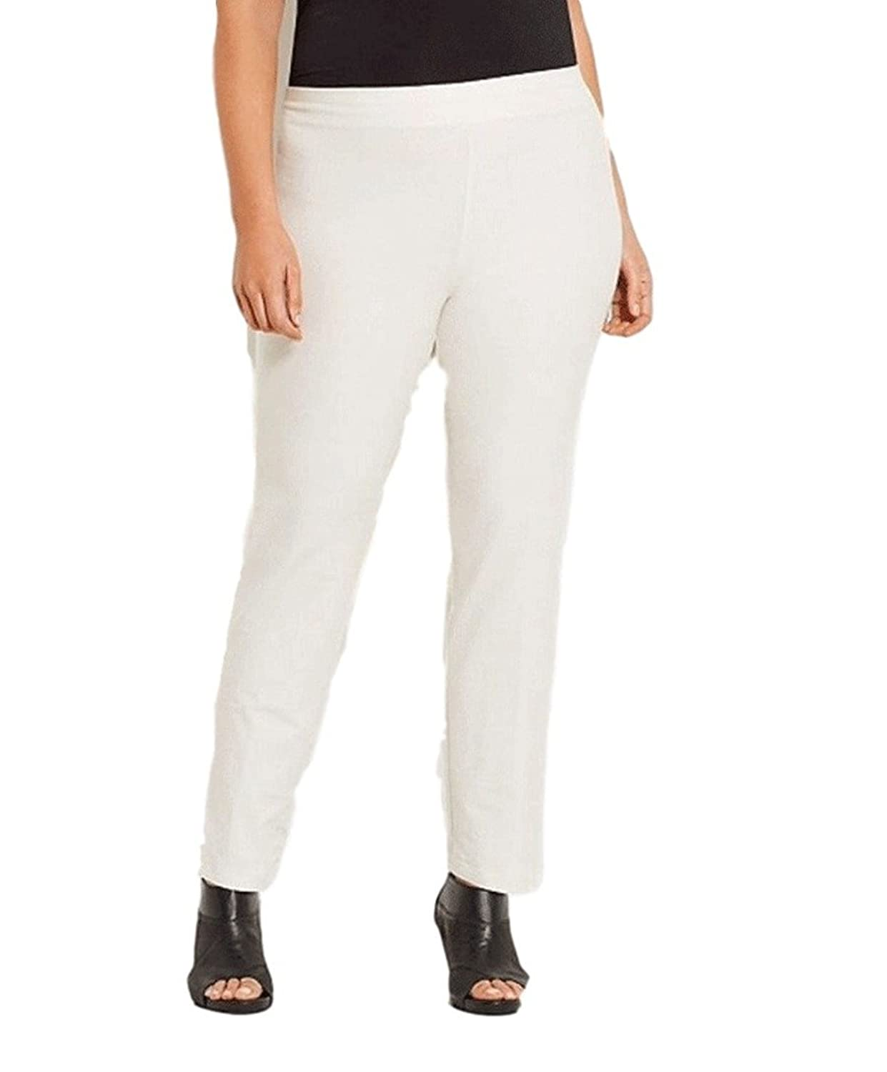 Eileen Fisher Plus Washable Stretch Crepe Slim Pants with Yoke Bone