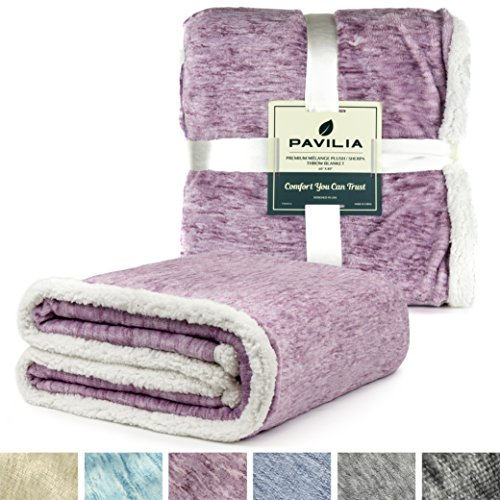 PAVILIA Premium Purple Sherpa Melange Throw Blanket for Twin