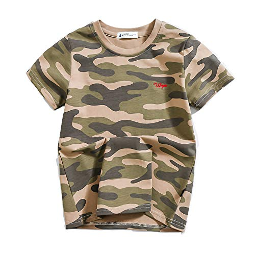 Zernar Boys Camouflage T-Shirts,Active Tees for Kids Children Ralgan Baseball Tops(Green,5-6 Years)