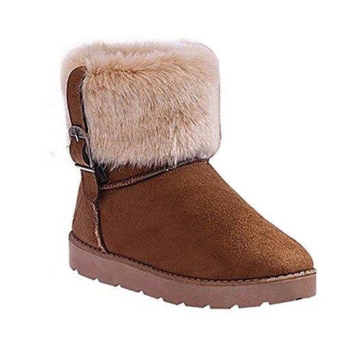Minetom Mujer Botines Moda Botas De Nieve Calentar Botas De Invierno Talón Plano Zapatos Marrón