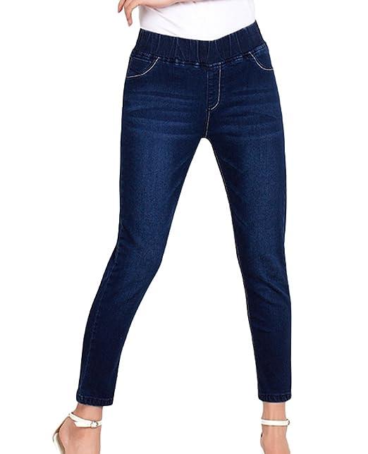 cddd74466a6070 YuanDian Donna Autunno Casual Taglie Forti 7/8 Lunghezza Elasticizzati Jeans  Alla Caviglia Slim Fit