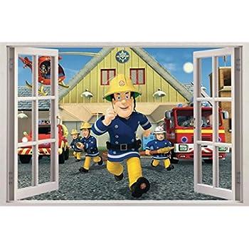 Superb Fireman Sam 3D Window View Decal Graphic Wall Sticker Decor Art Mural H423,  Huge Pictures