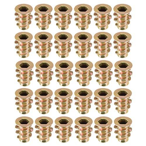 uxcell Threaded Insert Nuts Zinc Alloy Hex Socket M4 Internal Threads 10mm Length 30pcs