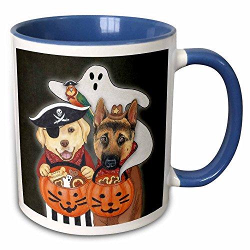 3dRose Laura J. Holman Art - Halloween Dogs - Labrador, Shepherd, and parrot in costume with a ghost. - 15oz Two-Tone Blue Mug (mug_221197_11) -