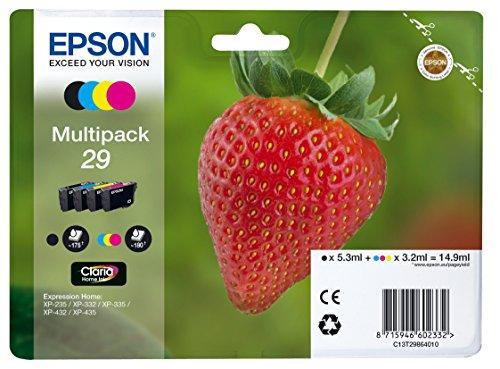 Epson 29 CMYK - Cartucho de Tinta para impresoras (Negro, Cian, Magenta, Amarillo, Estándar, 10-80%, -40-60 °C, Expression...