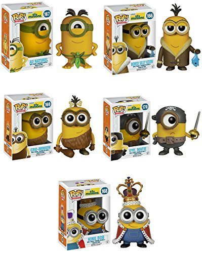 Funko Minions Movie Bored Silly Kevin, Eye Matie, Au Naturel, Cro-Minion and King Bob Pop! Vinyl Figures Set of (Minions Movie: Minion Kevin Adult Costume)