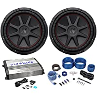 Package: (2) Kicker 43CVR124 12 Dual Voice Coil 4-Ohm Car Stereo Subwoofers Totaling 1600W+1000w RMS X-Line Series Mono Class D Car Audio Amp+Complete 4 Gauge 2 Channel Wire Kit W/Rca Cables