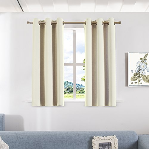 Aquazolax Blackout Curtain Panels for Bedroom Thermal Insulated Grommet Top Blackout Draperies and Drapes for Kitchen Window, 2 Panels, W42 x L45 -Inch, (Casual Elegance Ivory Rectangular Rug)