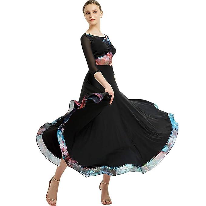 Amazon.com: YUMEIREN Women Waltz Tango Dance Dress Plus Size ...