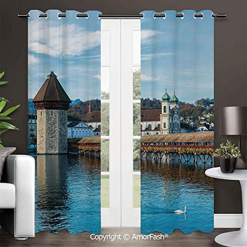 Decorative Curtains Room Darkening Thermal Insulated Curtains,Grommet Top,42x96 Inch Landscape Panoramic View of Oak Chapel Bridge Northern Lands Lake European Aged City Print]()
