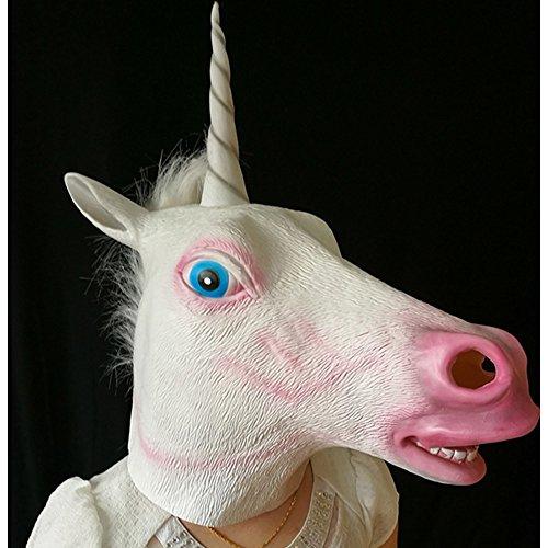 Halloween Creepy Novelty Unicorn Costume Party Animal Head Mask