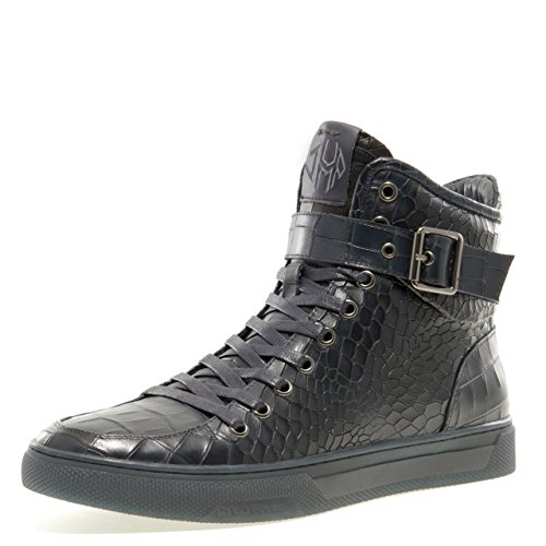 Jump Newyork Men's Sullivan Round Toe Crocodile Stamped Leather Lace-Up Inside Zipper and Strap High-Top Sneaker 9 D US Men