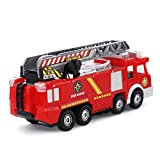 Newnet Electric Fire Truck Toy with Lights and Sirens, Extending Ladder and Water Pump Hose to Shoot Water, Bump and Go Action - Battery Operated