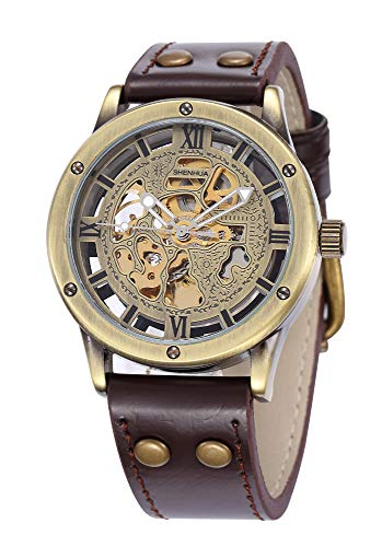 Carrie Hughes Men s Steampunk Bronze Skeleton Automatic Mechanical Stainless Steel Leather Watch CH9397B