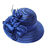 Decou Big Flower Feather Qualified Derby Church Tea Party Bucket Hat Sun Hat S-18 S012 (Blue)