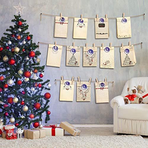 Molbory Bolsas de Regalo Navidad, Calendario de Adviento, Bolsas de Papel Kraft con 1-24 Pegatinas, Decoración Navideña para Fiestas, Ceremonias de Graduación, Bodas, Aniversarios, Navidad