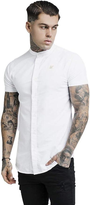 Sik Silk de los Hombres Camisa de Manga Corta de Grandad, Blanco, S: Amazon.es: Ropa y accesorios