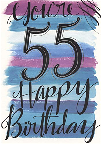 Designer Greetings You're 55 Blue and Purple Brush Strokes Age 55 / 55th Birthday Card