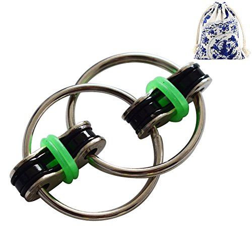 Price comparison product image Veliis Flippy Chain Fidget Toy for Relaxing Therapy Stress Relieve Increase Focus for Children and Adults Help with ADHD ADD OCD Autism Depressions and Anxiety Disorders in School & Office(Green)