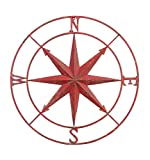 Creative Co-Op Red Round Metal Compass Wall Decor