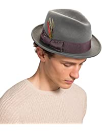 72759bac8be Unisex Classic Fedora Hats Wool Felt Trilby Hat with Bowknot Feather