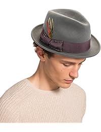 Unisex Classic Fedora Hats Wool Felt Trilby Hat with Bowknot Feather Black 68ecfb21dbd