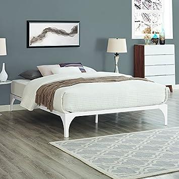 Modway Ollie Steel Queen Modern Platform Bed Frame Mattress Foundation With Wood Slat Support In White