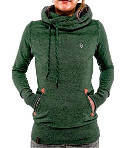 Manica Frontale Cappuccio Lunga Hoodies Sportiva Elegante Pullover BESTHOO Green Outwear Giacca Tasca Moda Con Donna Autunno Felpa Cappotto qFCYZU