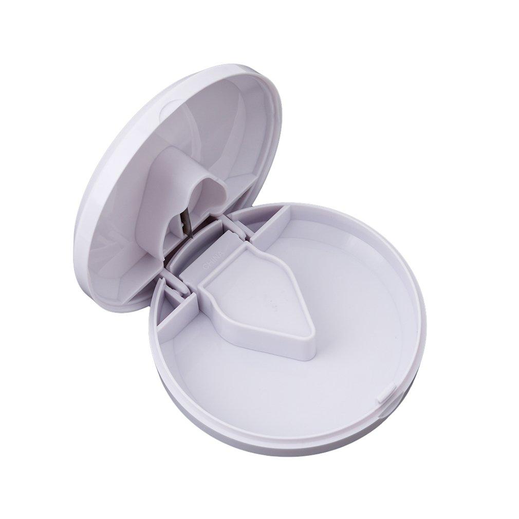 Dolland Travel Pill Box Organizer Plastic Pill Cutter Splitter Divide Storage Case Medicine Cut Compartment Box White