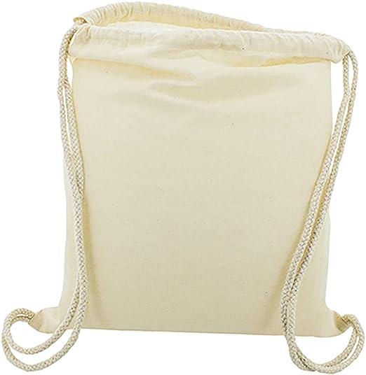 10 x Bolsa Mochila Algodón Natural Con Cordones Tamaño 39 x 35 Centimetros: Amazon.es: Hogar