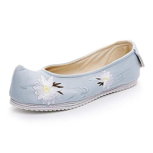 Zapatos de Ballet Zapatos de Mujer Mocasín Lona Bordada Cáñamo Primavera Otoño Casual Algodón Tela Resbalón En Señoras Mocasines Alpargatas: Amazon.es: ...