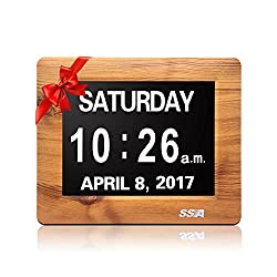 SSA Factory Directly Extra-Large Memory Loss Digital Calendar Day Clock with Extra Large Non-Abbreviated Day & Month. Perfect for Seniors (7 wood)