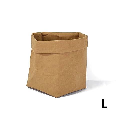 PROKTH Bolsas de papel kraft - Macetas de papel kraft - Bolsa pan - Papel kraft - Lavable papel multiusos bolsa de almacenamiento - Marrón - Large