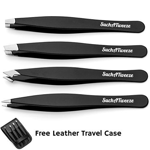 4 Tip Tweezer Set - SuchATweeze Premium Stainless Steel Precision Tweezers for Men & Women. Guaranteed Best Straight, Slant, Ingrown Pluckers for Shaping Eyebrows (Black) ()