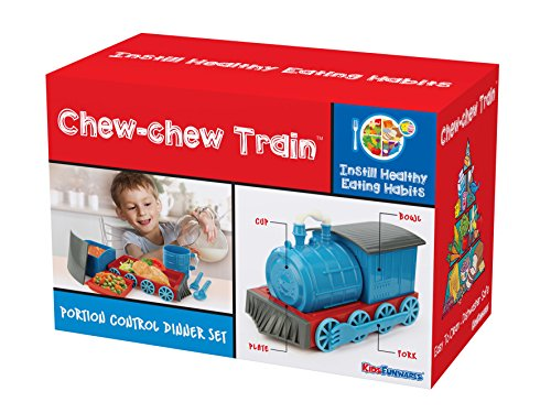 KidsFunwares Chew-Chew Train Place Setting, Blue - Transforms from a Train into a Functional Meal Set - Includes Bowl, Small Plate, Plate, Fork, Spoon, and Cup - Great Gift for Kids - Dishwasher Safe by KidsFunwares (Image #8)
