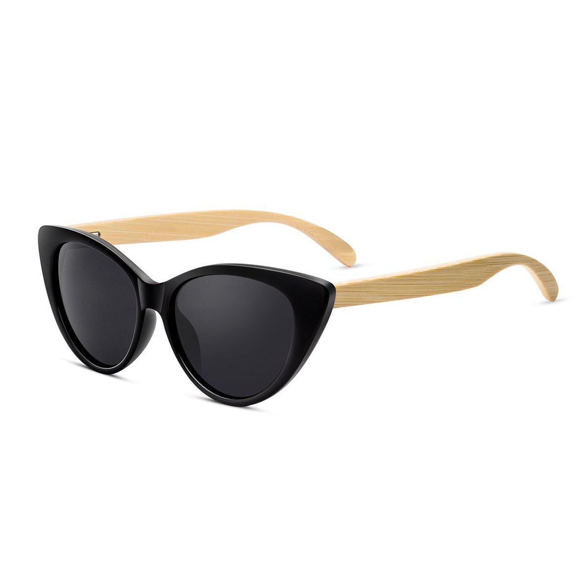 1dabee10b023 Amazon.com: WISH CLUB Cat Eye Wood Handmade Sunglasses for Women and Men  with UV 400: Clothing