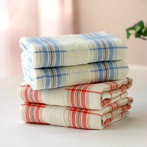 Generic Pink 28x50cm Double Side Classic Lattice Pattern Child Towels Face Towel Bath Towel Blue Red 100 Cotton Gauze Fabric Hand Towel Pillow Cover Amazon In Home Kitchen