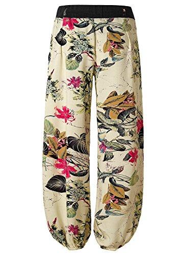 BAISHENGGT Mujer Pantalones de Pernera ancha Albaricoque Floral