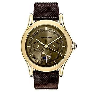 Emporio Armani Swiss Made Reloj de Vestido de Cuero y de Acero Inoxidable de los Hombres de Cuarzo Suizo, Color: marrón (Modelo: ars4203) 7