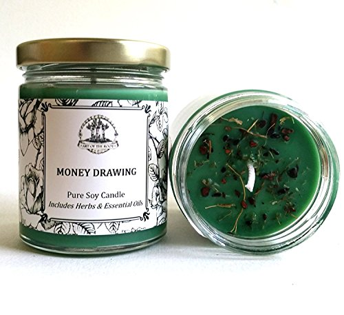 Money Drawing 6 oz Soy Spell Candle for Wealth, Financial Security, Propserity (Wiccan, Pagan, Hoodoo, (Money Drawing Herbs)