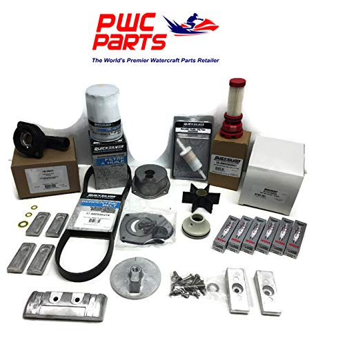 Repl Belt - MERCURY VERADO L6 Quicksilver 300 Hour Maintenance Kit 250/275/300HP Fuel Filter & In-Line, Iridium Spark Plugs, Water Pump Rebuild, Timing Serpentine Belt, Lower Unit Seals, Thermostat Repl 8M0097859