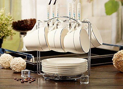 DHWM-Bone China Coffee Cup Set Platinum Edition 6 Piece Set Ceramic Coffee Cup Saucer And Spoon Shelves Coffee Sets D.